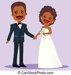 amerikaan, afrikaan, trouwfeest