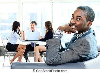amerikaan, afrikaan, zakenmens