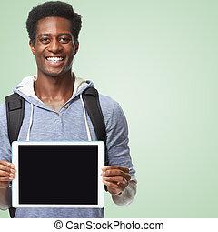 amerikaan, afro, computer., tablet, man