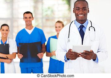 amerikaan, arts, medisch, mooi, afrikaan