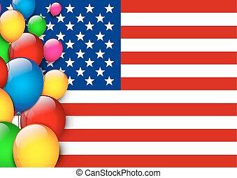 amerikaan, ballons, vlag, groet
