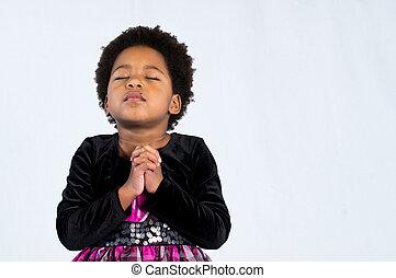 amerikaan, biddend, meisje, afrikaan