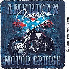 amerikaan, classieke, motor, cruise