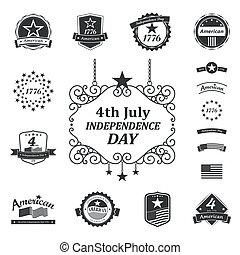 amerikaan, dag, onafhankelijkheid, meldingsbord