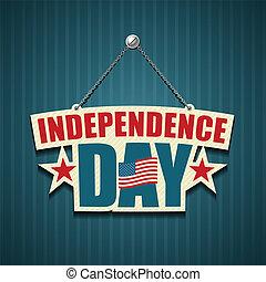 amerikaan, dag, onafhankelijkheid, tekens & borden