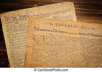amerikaan, founding, documents., verklaring, independence., grondwet