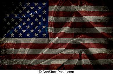amerikaan, grunge, vlag
