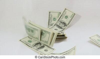 amerikaan, het vallen, dollars