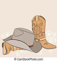 amerikaan, hoedje, cowboylaarzen, westelijk, design., kleren