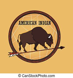 amerikaan indiaas, emblems, en, etiketten