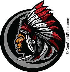 amerikaan indiaas, inlander, leider, mascotte