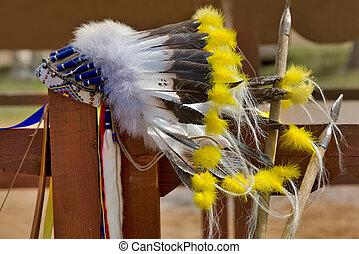 amerikaan indiaas, noorden, headdress, inlander