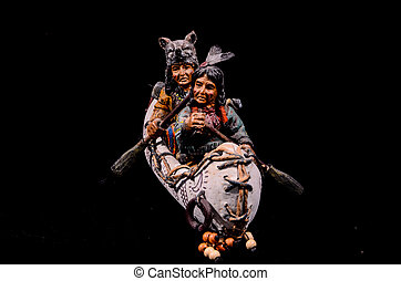 amerikaan indiaas, noorden, standbeeld, kano