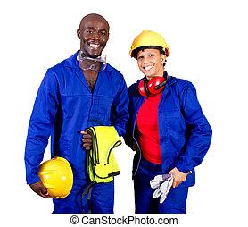 amerikaan, industriele werkers, afrikaan