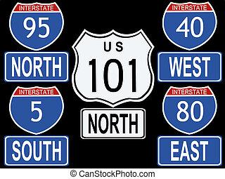 amerikaan, interstate rijweg, illustratie, tekens & borden