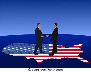 amerikaan, mannen, vergadering, zakelijk