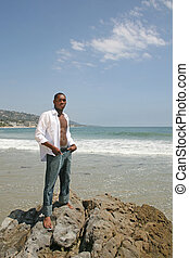 amerikaan, mooi, strand, man, afrikaan