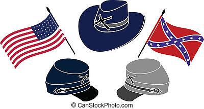 amerikaan, oorlog, civiel, symbool