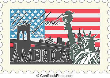 amerikaan, postzegel