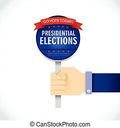 amerikaan, presidentieel, verkiezing, plat, concept