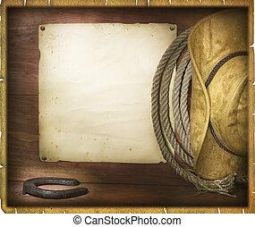 amerikaan, rodeo, cowboy, achtergrond, met, westelijke hoed, en, lasso