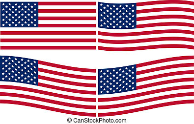 amerikaan, set, vlaggen