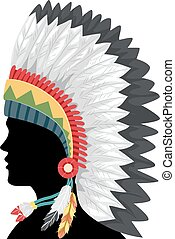 amerikaan, silhouette, headdress, illustratie, inlander