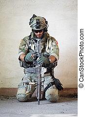 amerikaan, soldaat, het rusten, van, militair, operatie