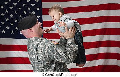 amerikaan, soldaat, houden, zijn, zuigeling, zoon