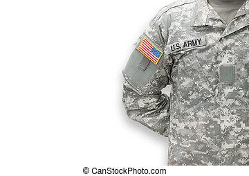 amerikaan, soldaat, op wit, achtergrond