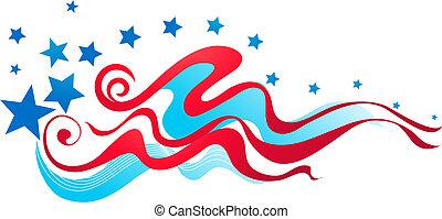 amerikaan, spandoek, vlag