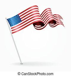 amerikaan, spelden, golvend, flag., vector, illustration.
