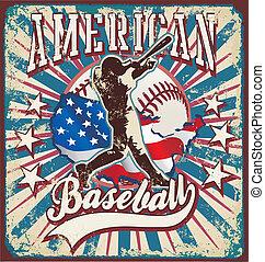 amerikaan, sportende, honkbal