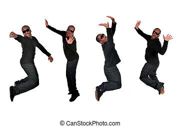 amerikaan, springt, jonge, afrikaanse man