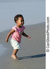 amerikaan, strand, meisje, afrikaan