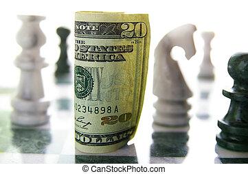 amerikaan twintig dollar rekening, op, een, schaakspel bord,...
