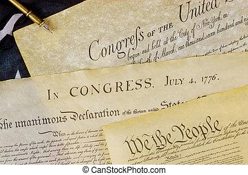 amerikaan, usa, grondwet, document, wij, mensen, v.s., flag.