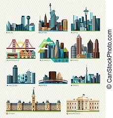 amerikaan, vector, cities., illustratie, canadees