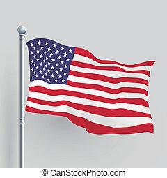 amerikaan, vector, vlag, 3d