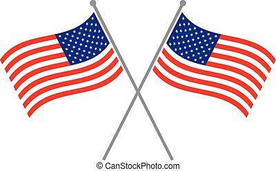 amerikaan, vector, vlag, pictogram