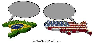 amerikaan, vergadering, braziliaans