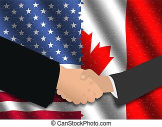 amerikaan, vergadering, canadees