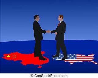 amerikaan, vergadering, chinees