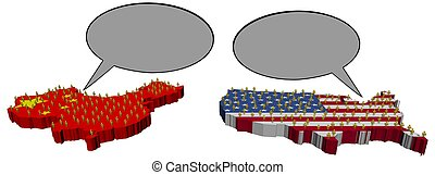 amerikaan, vergadering, chinees, illustratie