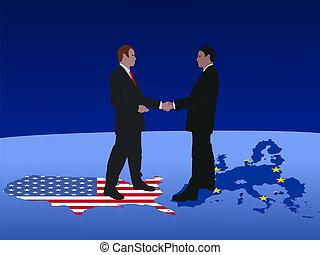 amerikaan, vergadering, europeaan