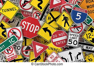 amerikaan, verkeerstekens