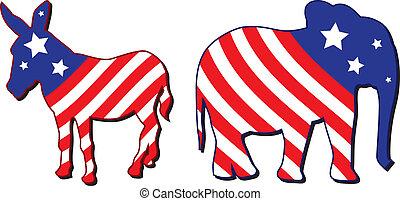amerikaan, verkiezing, illustratie