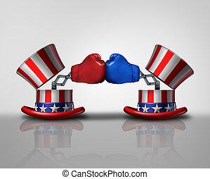 amerikaan, verkiezing, vechten