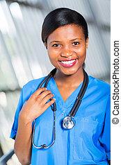 amerikaan, verpleegkundige, afrikaan