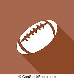 amerikaan voetbal, schaduw, lang, pictogram